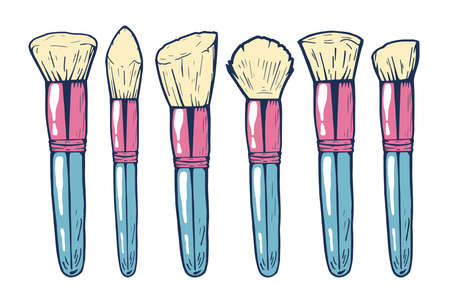Vector illustration of a girly feminine makeup brushes for blush, powder and contouring. Hand drawn doodle style with colorful underlay. Illusztráció