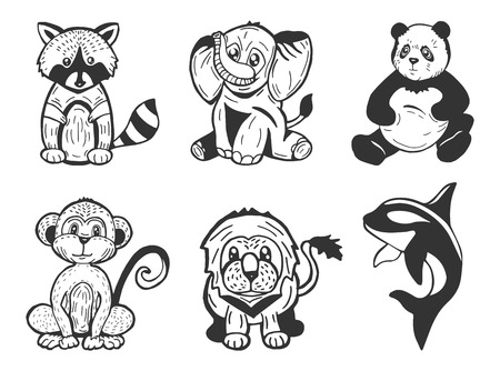 Vector illustration of cute cartoon stylized animals set. Raccoon, elephant, panda, monkey, lion, killer whale. Cute hand drawn kids nursery illustration. Doodle style.