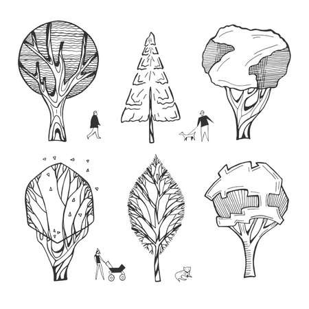 Vector illustration of architectural trees drawings. Stylized cartoon simplified minimalistic sketch doodle style. People silhouettes. Mom with baby carriage, boy with a dog, old man. Hand drawn.