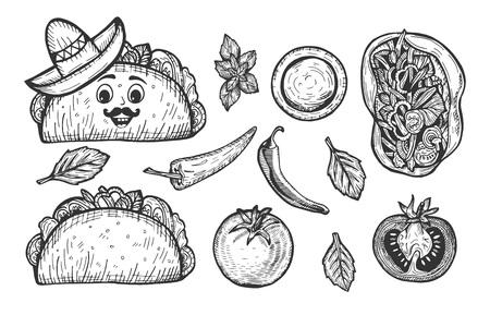 Ilustración de vector de comida rápida de tacos mexicanos. Tortilla de vista frontal y superior, picante, ají, tomate, salsa. Taco de dibujos animados con bigotes con sombrero. Dibujado a mano estilo doodle. Ilustración de vector
