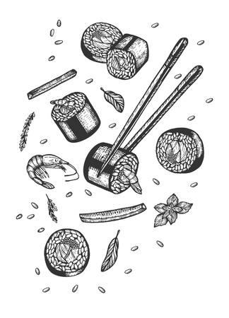 Vector illustration of a floating in space sushi rolls set. Sushi with a chopsticks, seafood, nori, Japanese fast food, shrimp, cucumber slice. Hand drawn style.