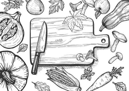 Wooden Cutting board with kitchen knife and vegetables on table. Vector illustration of the autumn seasonal menu fruits and vegetables set. Pumpkin top, sliced, squash, carrot, apple, forest mushrooms, leaves, ear of corn. Hand drawn doodle sketch style. Hero image