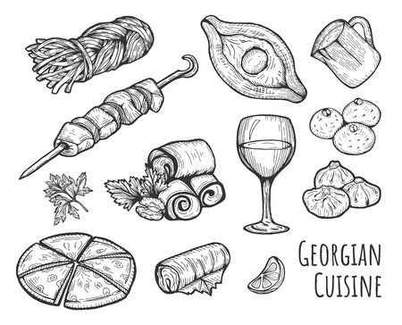 Vector illustration of a Georgian cuisine set. Khinkali, smoked Sulguni, khacha puri, Adjar khachapuri, barbecue shashlik, wine glass, Badrijani, Pkhali, Dolma. Hand drawn vintage style.  イラスト・ベクター素材