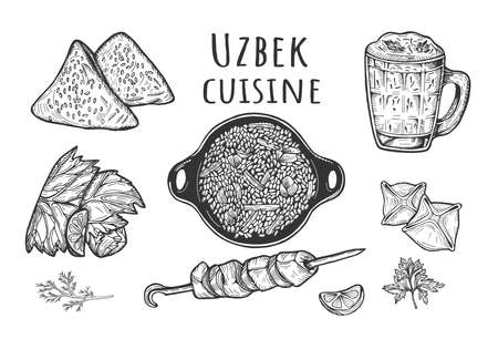 Vector illustration of Uzbek cuisine menu. Barbecue shashlik, Samsa, Ayran, rice Pilaf in cauldron, Dolma, Manti. Vintage hand drawn style.