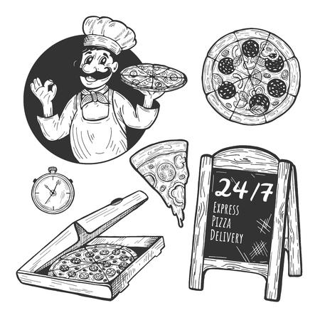 Illustrazione vettoriale di set di oggetti di consegna espressa. Cuoco italiano con pizza che mostra gesto ok, peperoni, fetta con formaggio fuso, scatola, menu cavalletto esterno, timer. Stile cartone animato disegnato a mano. Vettoriali