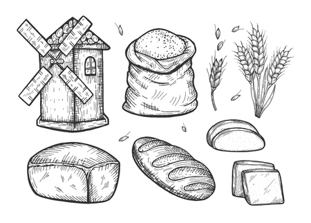 Vector illustration of a bread making set. Vintage windmill, sack bag with wheat flour, leazings, crops, loaf, slice, baguette. Hand drawn engraving style. Illustration