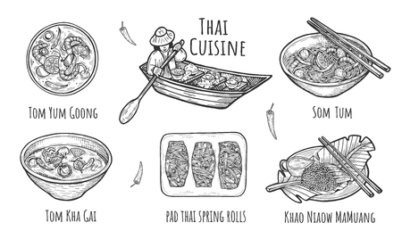 Vector illustration of Thai traditional cuisine. Thailand dishes Tom Yum Goong, Som Tum, Tom Kha Gai soup, Khao Niaow Ma Muang rice with mango, pad thai spring rolls. Food floating boat. Hand drawn. Stock Illustratie