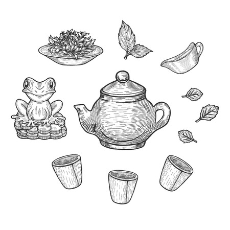 Vector illustration of a Chinese tea ceremony set. Three gaiwan cups, clay teapot, saucer, snifter, platter with a green tea, Feng shui or fengshui money frog. Hand drawn style.