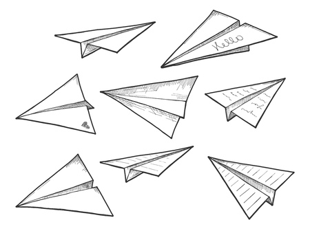 Vector illustration of paper air planes set. Origami sculptures, airplane, notes, mail, aviation drawings in a hand drawn style.