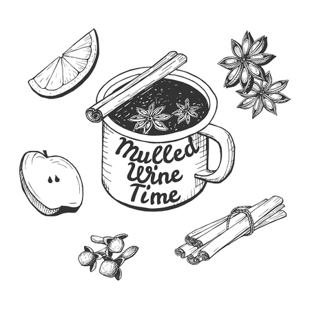 Vector illustration of a cup with the mulled wine time quote inscription. Orange slice, apple, spices, cinnamon sticks, clove, anise stars, ingredients drawing. Hand drawn modern style.