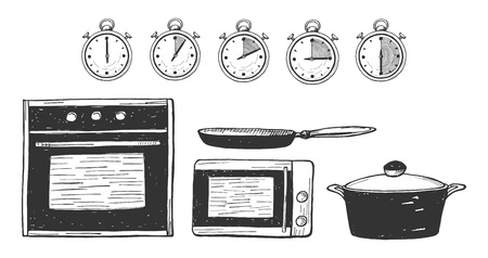 Vector illustration of a food preparation time. Oven, microwave, pan, saucepan, pot icons. Timer 0, 5, 10, 15, 30 minutes. Hand drawn style. Illustration