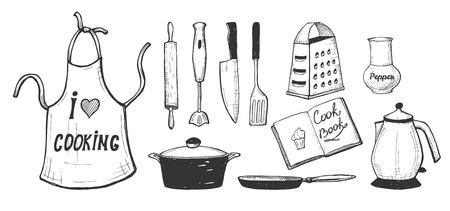 Vectorillustratie van een keukengerei en keukengerei, servies, tafelgerei. Schort, deegroller, dipblender, koksmes, spatel, peper gember, rasp, waterkoker, steelpan, pan. Handgetekende stijl.