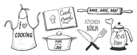 Ilustracja wektorowa gotowanie etykiety, odznaki, zabawy kaligrafii odręcznych kompozycji. Fartuch, książka kucharska, patelnia, wałek do ciasta, nóż szefa kuchni, szpatułka, czajnik. Miłość, kuchnia ninja, czas na herbatę, pieczenie dziecka. Ilustracje wektorowe