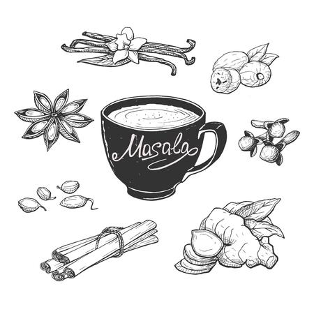 Illustrazione vettoriale di tazza di tè al latte masala e spezie. Anice, chiodi di garofano, vaniglia, cardamomo, stecche di cannella, zenzero, noce moscata. Stile di incisione disegnata a mano.