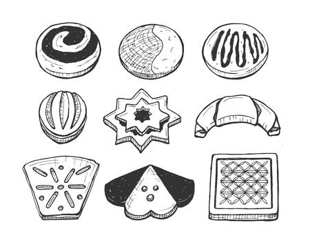 Vector illustration of hand drawn cookies set. Snacks, crisps, crackers, graham, chocolate sweets. Hand drawn style. Illustration
