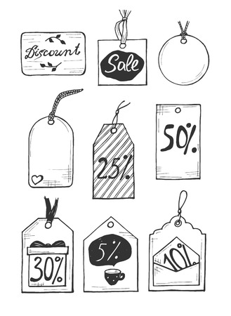 Vector illustration of a different discount labels set. Sale, 5, 10, 25, 50, 30, percent badges and few empty for your text. Hand drawn style.