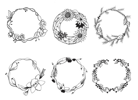 Vector illustration of a different wreath set. Flowers, leaves and branches in a hand drawn tender cute doodle style. Great for floral wedding decorations.  イラスト・ベクター素材