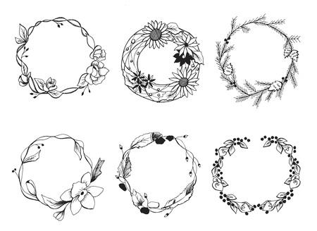 Vectorillustratie van een andere krans set. Bloemen, bladeren en takken in een handgetekende tedere schattige doodle-stijl. Geweldig voor bloemen bruiloft decoraties. Vector Illustratie