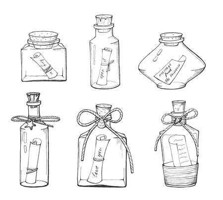 Vector illustration of the different bottle with a note. Transparent outline drawings. Love you, message from the universe, hug you, open it quotes. Hand drawn style.