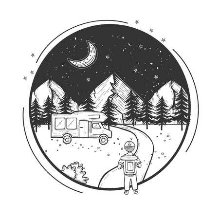 Vector illustration of wildlife nature mountains forest night landscape with moon and stars. Hiking man with backpack walking the footpath to the camper car. Hand drawn modern vintage style. Illustration