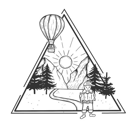 Vector illustration of wildlife nature mountains forest day landscape with sun and hot air balloon. Hiking man walking the footpath looking in the map. Hand drawn modern vintage style.