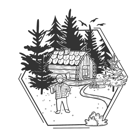 Vector illustration of wildlife nature fir tree forest landscape with wooden hut house and firewood stack. Lumberjack with ax. Hand drawn modern vintage style.