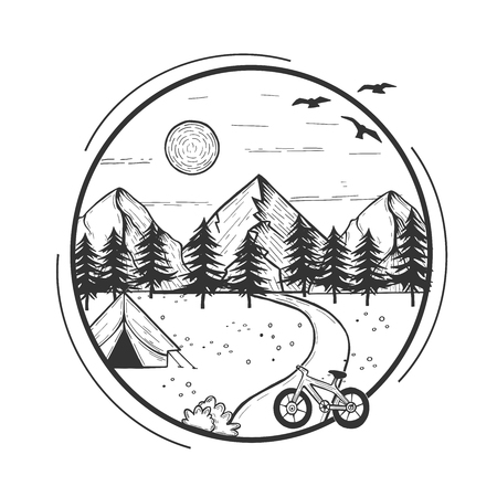 Vector illustration of wildlife nature fir tree forest landscape with camping tent and bicycle in front. Hand drawn modern vintage style.