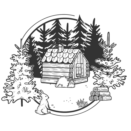 Vector illustration of wildlife nature fir tree forest landscape with wooden hut house. Wild cute hare and stack of firewood in front. Hand drawn modern vintage style.