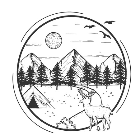 Vector illustration of wildlife nature fir tree forest and mountain landscape with camping tent. Deer walking in front. Hand drawn modern vintage style.