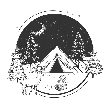 Vector illustration of wildlife nature fir tree forest and mountain landscape with camping tent. Night sky with moon and stars. Deer walking in front. Hand drawn modern vintage style. 일러스트
