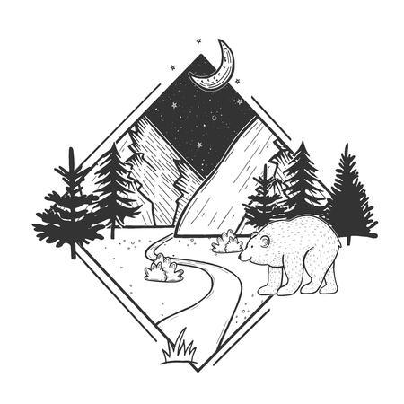 Vector illustration of wildlife nature fir tree forest and mountain landscape. Night sky with moon and stars. White bear is walking in front. Hand drawn modern vintage style. Illustration