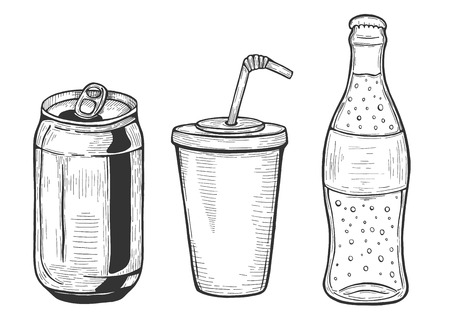 Vector illustration of soda set. Aluminum can, plactic glass with straw, bottle. Hand drawn vintage doodle style. Illustration