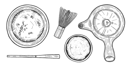 Vector illustration of Japanese matcha tea ceremony objects. Cup, pot, teapot, bamboo whisk, powder, measuring spoon. Vintage hand drawn style.
