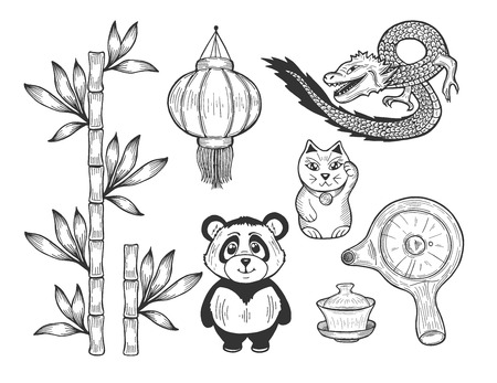 Vector illustration of a Chinese symbol icons. Bamboo, paper lantern, cat statuette, flying dragon, pot, teapot, tea cup with lid, panda bear. Hand drawn doodle style.