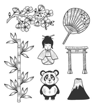Illustration vectorielle des icônes de symboles culturels du Japon. Branche de fleurs de cerisier Sakura, geisha de dessin animé, ours panda, éventail traditionnel en papier de riz, porte en arc torii, volcan. Style de griffonnage dessiné à la main. Vecteurs