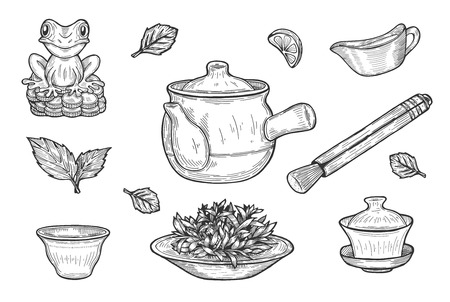 Vector illustration of Chinese tea ceremony set. Gaiwan cup, clay teapot, saucer, snifter, platter with a green tea, Feng shui or fengshui money frog. Hand drawn style.