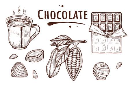 Ilustración de vector de chocolate set - cacao en grano, taza caliente, caramelo, barra. Etiqueta de inscripción de título derretida. Estilo de doodle dibujado a mano vintage.
