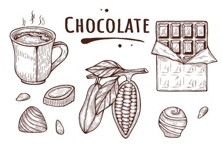 Vector illustration of chocolate set – cocoa beans, hot cup, candy, bar. Melted title inscription label. Vintage hand drawn doodle style.