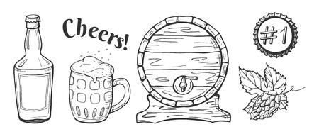 Vector illustration of beer emblems, labels set. Pub, craft, brewery, cheers. Barrel, bottle, lid, hop, stein drawings. Hand drawn outline sketch style. Ilustração