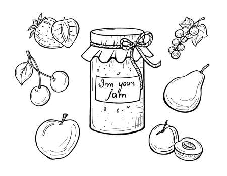 Vector illustration of a jar with cloth and rope. Label I'm your jam. Cherry, pear, apricot, strawberry, currant. Home kitchen delicious sweet fruit grandma conserve. Hand drawn outline sketch.