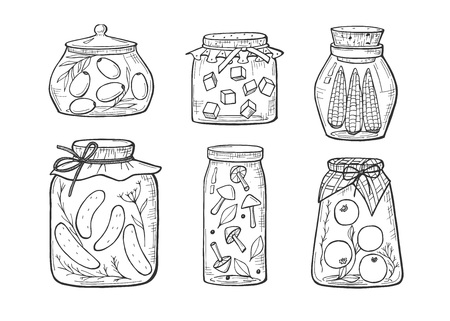 Vector illustration of homemade pickles jars. Olives, cucumber, corn, tomato, mushrooms, cabbage. Home kitchen delicious autumn vegetable grandma conserve. Hand drawn sketch outline style. Stok Fotoğraf - 125576913
