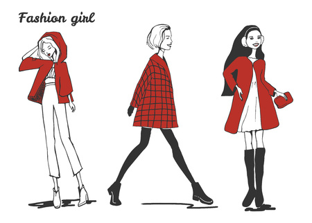 Vector illustration of a fashion girls women wearing red set. Hand drawn sketchy style.