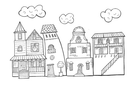 Vector illustration of a street houses buildings set. Hand drawn sketch doodle style.