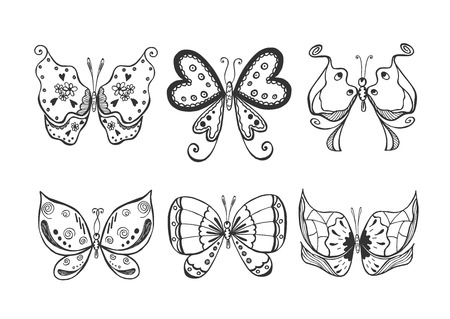 Vector illustration of butterflies set in a sketch doodle hand drawn style. Illusztráció