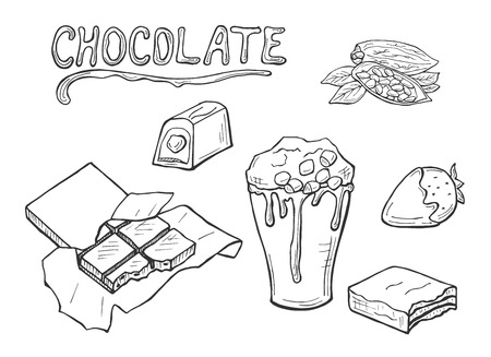 Vector illustration of chocolate. Cocoa beans, candies, bar, melted cup, covered strawberry. Melted title. Hand drawn sketch doodle style.