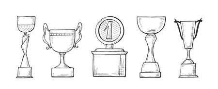 Vector illustration of a winners championship cups set. Hand drawn sketch style.