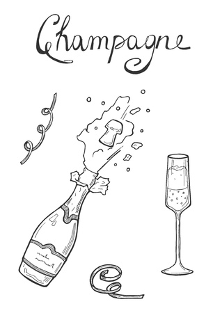Vector illustration of a bursting opening Champaign bottle with splashes and glass. Hand drawn sketch doodle style.