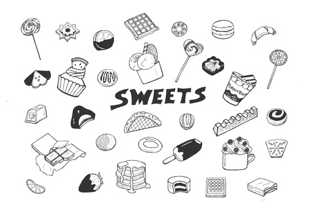 Vector illustration of sweets set. Candy, cookie, chocolate, bar, waffle, lollipop, cup, pancakes, macaroons, ice cream on stick, desserts. Hand drawn minimalistic sketch doodle style. Illustration