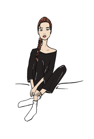 Vector illustration of a fashion girl sitting in loungewear pajama. Hand drawn doodle style. Standard-Bild - 116283942
