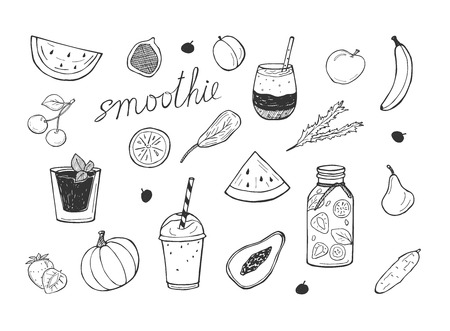 Vector illustration of smoothie cocktails detox icons set. Cherry, watermelon, papaya, banana, strawberry, pumpkin, pear, spinach, plum. Drinks in glass, bottle with a straw. Hand drawn doodle style.